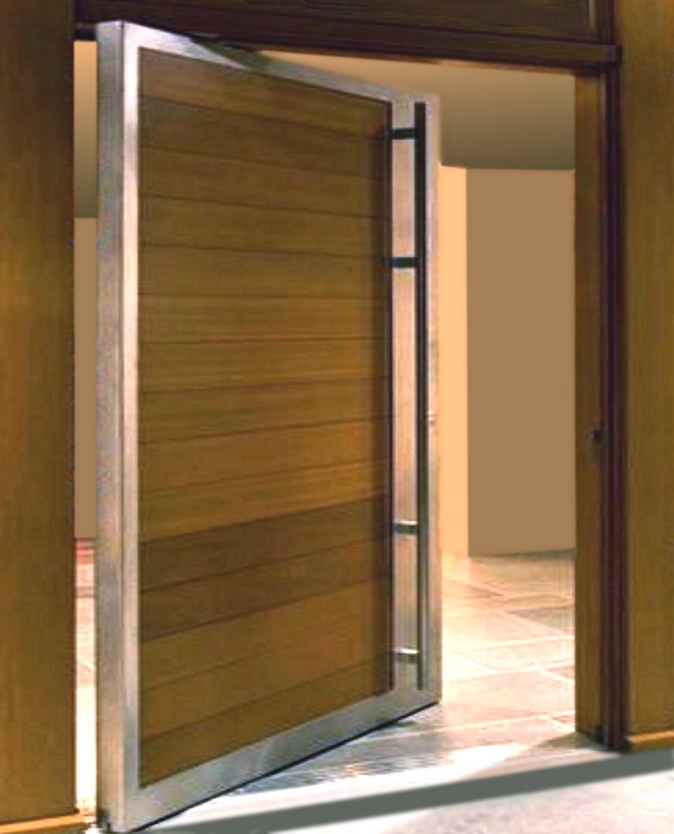 Steel exterior double doors pivot door inc for Large entry door