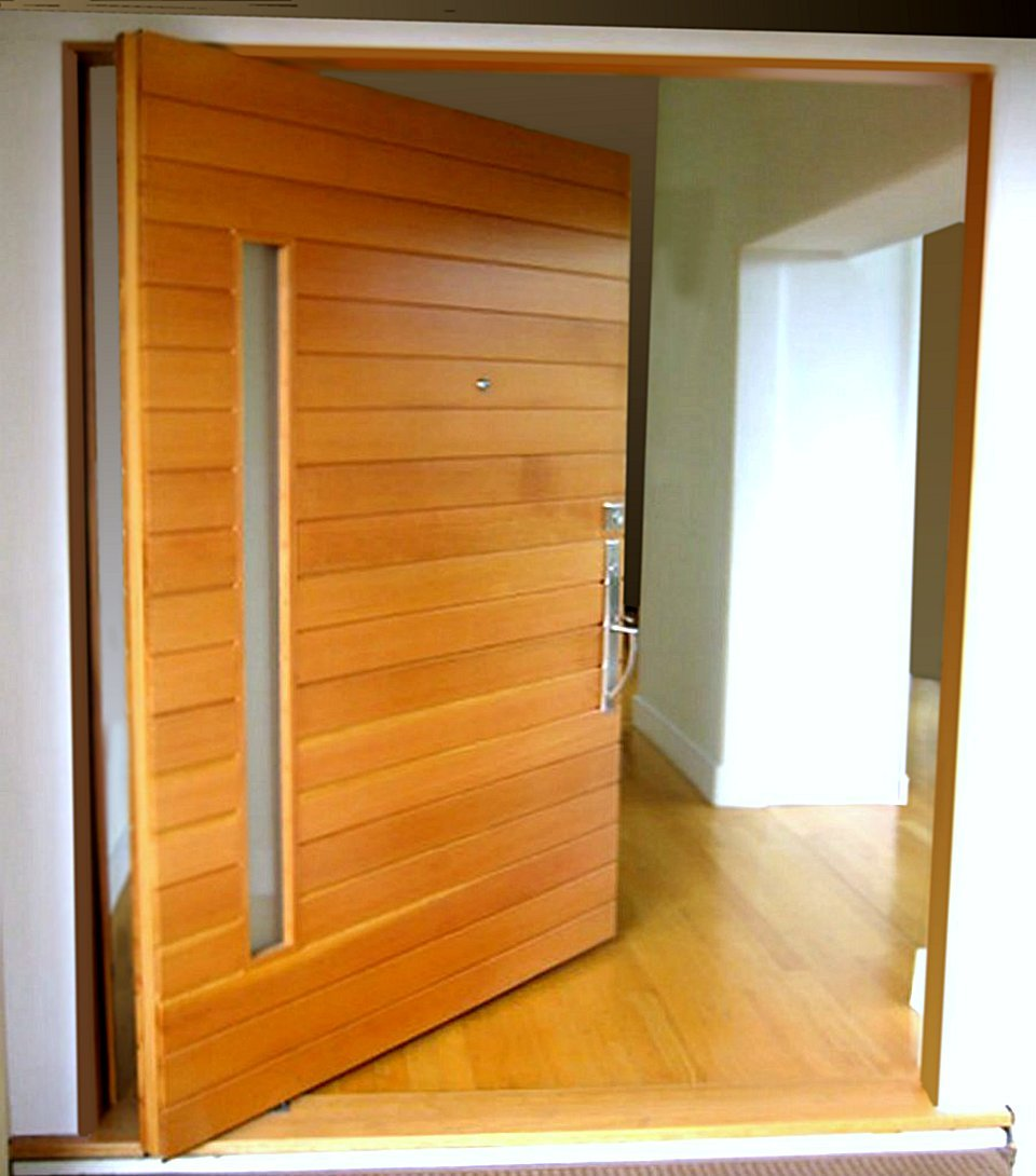 Front door feng shui pivot door inc for Natural wood front door